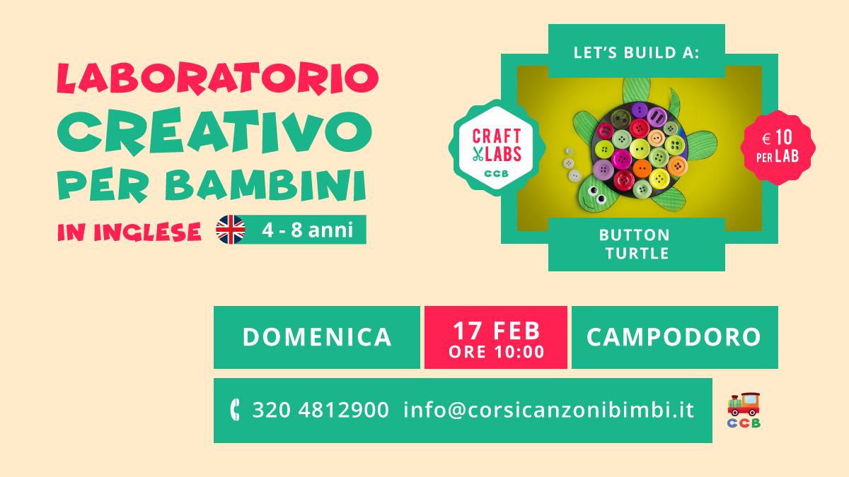 Button Turtle Laboratorio Creativo per Bambini in Inglese tra Padova e Vicenza